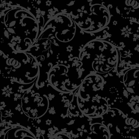 Moroccan Red - Gray Scroll on Black