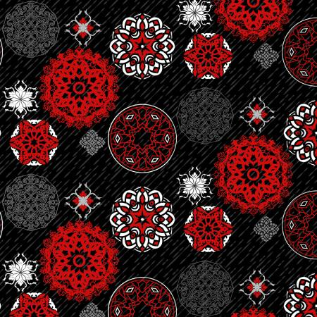 Moroccan Red - Black/Red Medallion