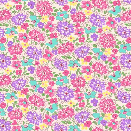 Pink/Purple Multicolored Wildflowers 1930's Reproduction