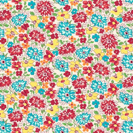 Red/Aqua Multicolored Wildflowers 1930's Reproduction