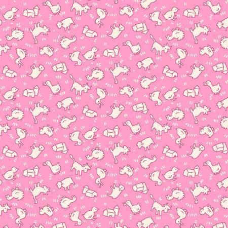 Pink Tiny Farm Animals 1930's Reproduction