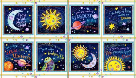 Navy/Multi 24in repeat 10in blocks Celestial Scenes