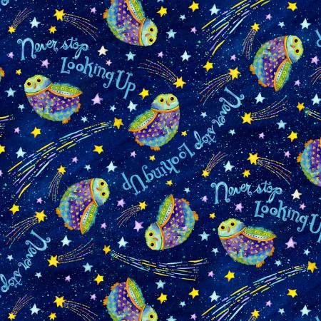 Stay Wild Moon Child - Navy Owls in Night Sky
