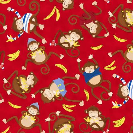 Monkey Business Red Tossed Monkeys Children's Fabric
