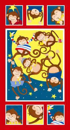 Monkey Business Multi 24 in Children's Fabric Panel