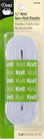 White Non-Roll Knit Elastic 1/4in x 3yds