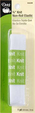 White Non-Roll Knit Elastic 3/4in x 1yd