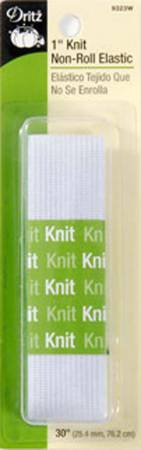 White Non-Roll Knit Elastic 1in x 30in