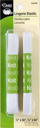 White Lingerie Elastic 1/2in x 30in 3/8in x 54in