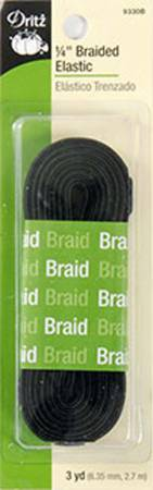 Notions Black Braided Elastic 1/4in x 3yds
