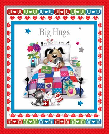 Henry Glass Big Hugs Red Get Well Banner Panel 9331P 88