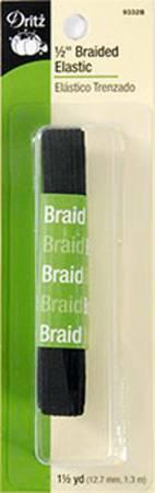 Black Braided Elastic 1/2in x 1-1/2yds