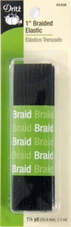 Black Braided Elastic 1in x 1-1/4yds