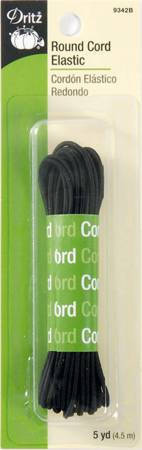 Black Round Cord Elastic 5yds