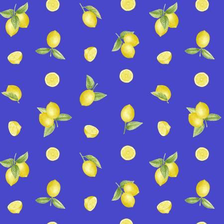 Just Lemons Blue Small Tossed Lemons