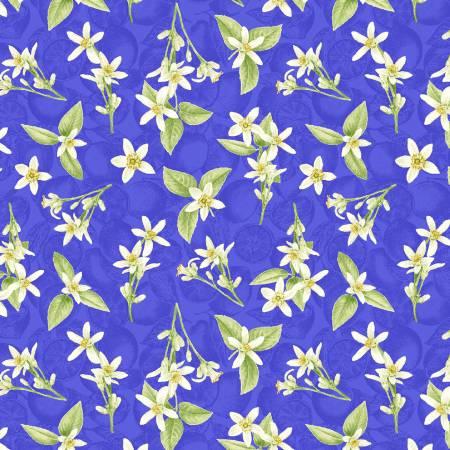 Just Lemons Blue Small Tossed Lemon Flowers