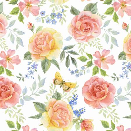 Garden Inspirations Tossed Large Roses Multi
