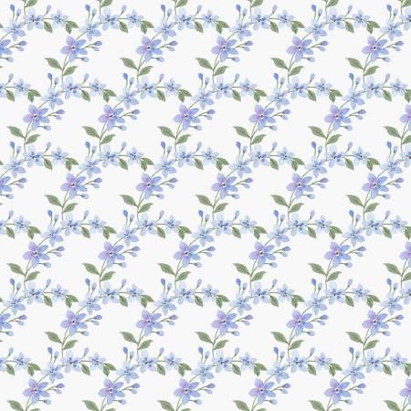 Garden Inspiration Scalloped Blue Flowers Blue 9362 17
