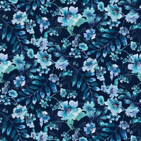 Midnight Sapphire Navy Watercolor Large Floral