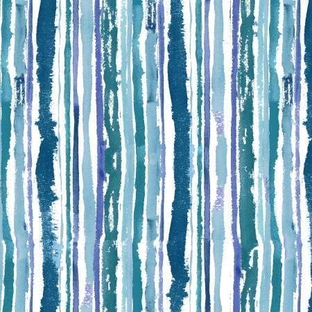 Midnight Sapphire Multi Watercolor Stripe