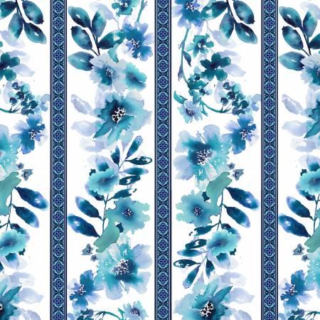 Midnight Sapphire White/Blues Wallpaper Stripe