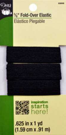 Fold Over Elastic 5/8in Black 1yd