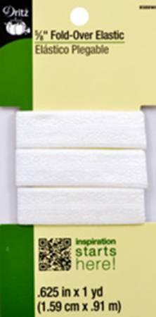 Dritz Fold-Over Elastic 5/8 White