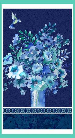 Midnight Sapphire Navy Vase Bouquet Panel 24in
