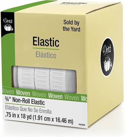White Non-Roll Elastic 3/4in - SOLD PER YARD