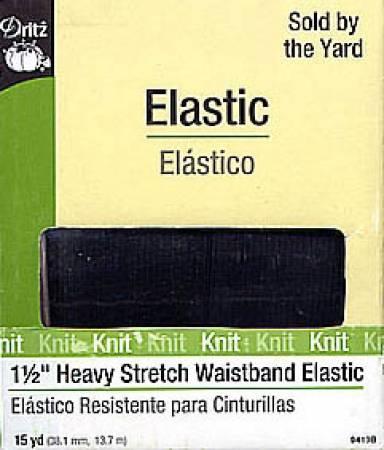 Black Heavy Stretch Waistband Elastic 1-1/2in x 15yds