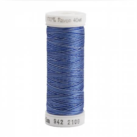 Rayon Thread 2-ply 40wt  250yds Variegated Blues, 2106