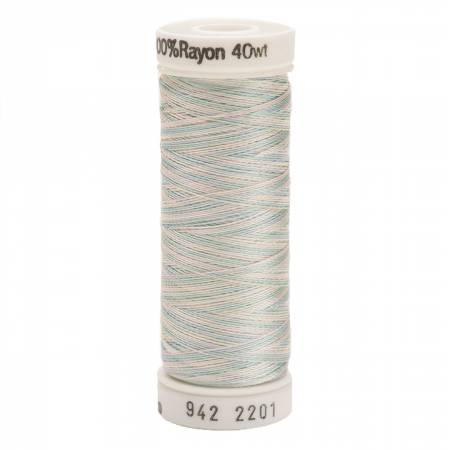 Rayon Thread 2-ply 40wt  250yds Variegated Baby Blue/Pink/Mint, 2201