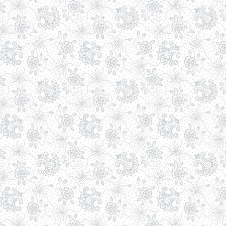 Henry Glass White White on White Stylized Flower 9431 01W