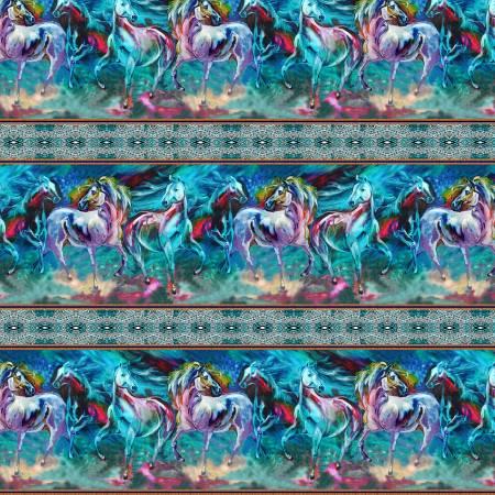 Benartex - Color Your World With Horses - Border Print/Multi -  9431B-84