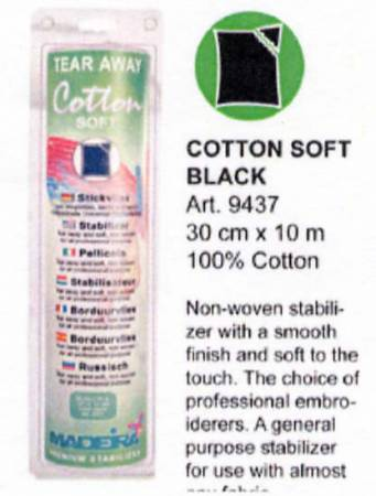 Cotton Soft Tear Away Stabilizer Black