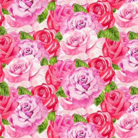 Henry Glass & Co. Heart & Soul 9439-22 Pink Packed Roses
