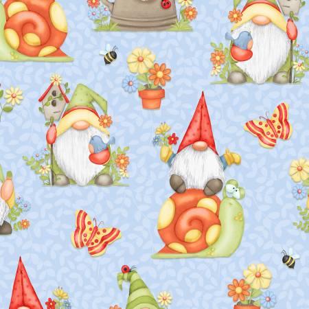 Gnome is Where Your Garden Grows Blue Allover Gnomes 9444-11
