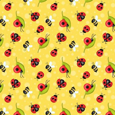 Henry Glass Gnome is Where the Garden Grows 9445-44 Yellow Ladybugs