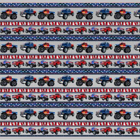 Monster Truck border stripe on Silver - American Truckers by Henry Glass Fabrics