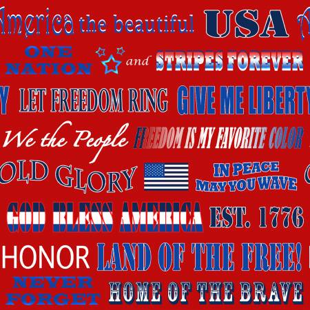 Red Patriotic Phrases - American Truckers by Henry Glass Fabrics