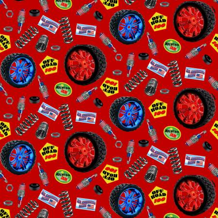 Red Truck Parts - American Truckers by Henry Glass Fabrics