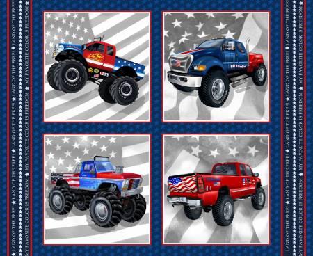 Navy Monster Truck Blocks 15.25in x 15.75in