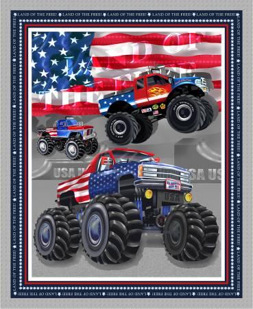 Silver Monster Trucks Banner Panel 36in