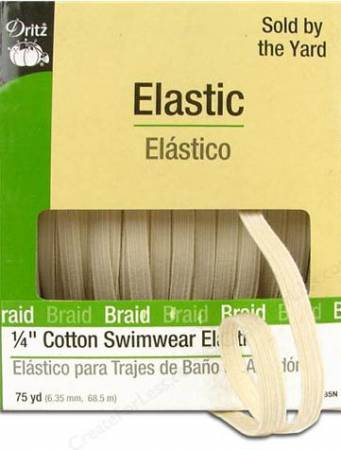 Natural Cotton Swimwear Elastic 1/4in x 75yds