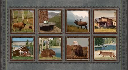 Yellowstone Jan Shade Beach Grey/Brown 8 Block Panel