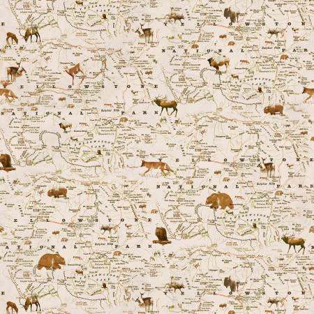 Henry Glass Yellowstone Cream Map 9494 43