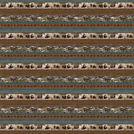 Yellowstone - Grey Rustic Novelty Stripe