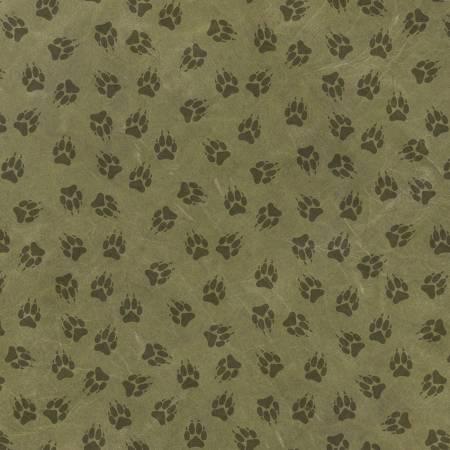 Yellowstone - Green Paw Print Allover
