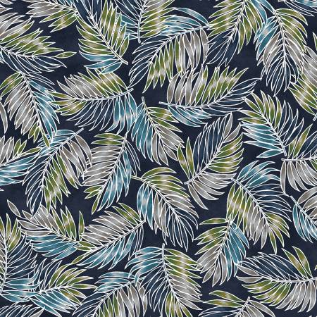 Navy Tossed Palm Leaves