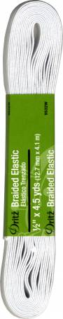Hank Elastic 1/2in Braided Wht 4 1/2yd